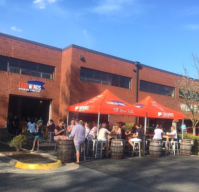 On a nice day, Fair Winds Brewing Company breaks out the tents, ropes off the parking lot and brew fans flock to the location.