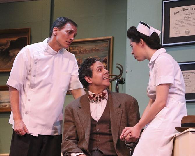 "Richard Isaacs (Lyman Sanderson, M.D.), Andy Izquierdo (Elwood P. Dowd), and Lindsey Doane (Ruth Kelly, R.N.) star in The Little Theatre of Alexandria's ""Harvey."""