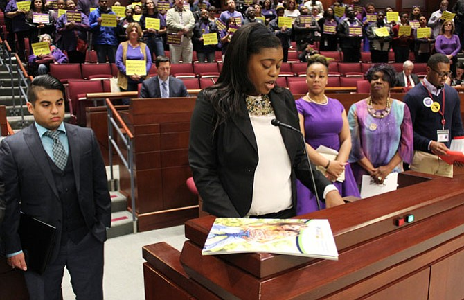 April West, a Fairfax County employee and union member, spoke about the importance of retirement security for working families at public hearings before the Board of Supervisors earlier in April.