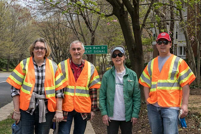 Some of the volunteers pictured before separating into smaller groups to pick up the trash along Jones Branch Road. From left: Pat Montanio, Tom Montanio, Patricia Leslie and Paul D'Onellas.