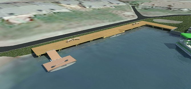 Design drawing of the new Lakeport dock, shorter in length than the old one and having a floating dock to launch smaller boats safely.