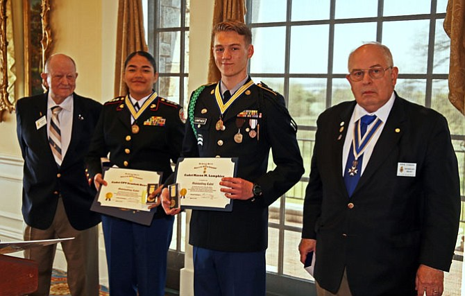 JROTC cadets Scarlett Reyes and Mason Lamphier, center, are presented with Outstanding Cadet awards by the Sons of the American Revolution George Washington Chapter Awards Chair Jack Pitzer, left, and President Ernest Coggins April 14 at Belle Haven Country Club.