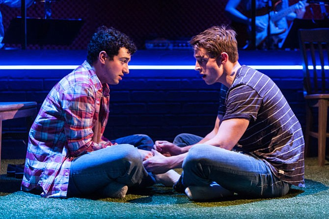 """Jimmy Mavrikes (Will) and Lukas James Miller (Mike) star in """"Girlfriend"""" at Signature Theatre."""