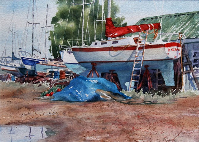 """""""Weekend Escape"""" watercolor by Betty Ganley. Find original watercolors by Ganley at the Grange/Schoolhouse at the Spring ArtFest on May 5-6, 10 a.m. to 5 p.m."""