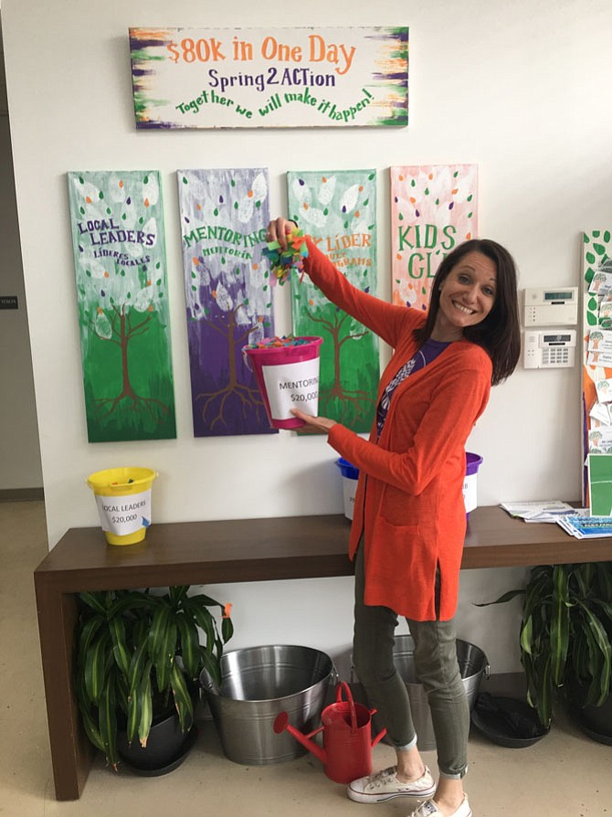 Dawnielle Miller, executive director and co-founder of Casa Chirilagua, celebrates Spring2ACTion day April 25. The nonprofit raised $59,440 from 351 donors during the 24-hour online fundraising initiative.