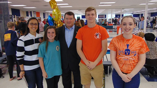 Springfield District Supervisor Pat Herrity (center), with (from left): Sam Donnelly Jonsson, Emily Butters, Connor Brooks, and Laura Moritz at the Teen Job Fair last Saturday.