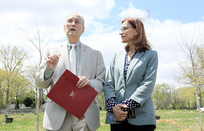 Joe and Mona Samaha lost their daughter, Reema, in the 2007 Virginia Tech shooting. Here are the couple at the dedication of a memorial garden in memory of those injured and killed at Chinquapin Park on April 16.