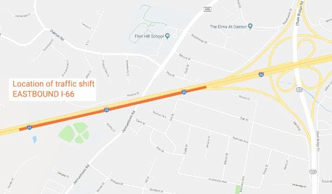 Southbound Route 28 between Westfields Boulevard and Braddock Road will close Thursday night, May 3; I-66 East between U.S. Route 50 and Route 123 (Chain Bridge Road) will close Friday and Saturday nights, May 4 and May 5.