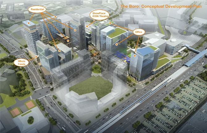 Artist's rendering of the scope of The Boro, a major addition to the new Tysons.