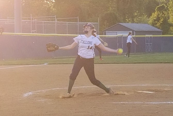 South County pitcher Cara Martin struck out 12 during the Stallions' 3-1 victory over Lake Braddock on Tuesday.