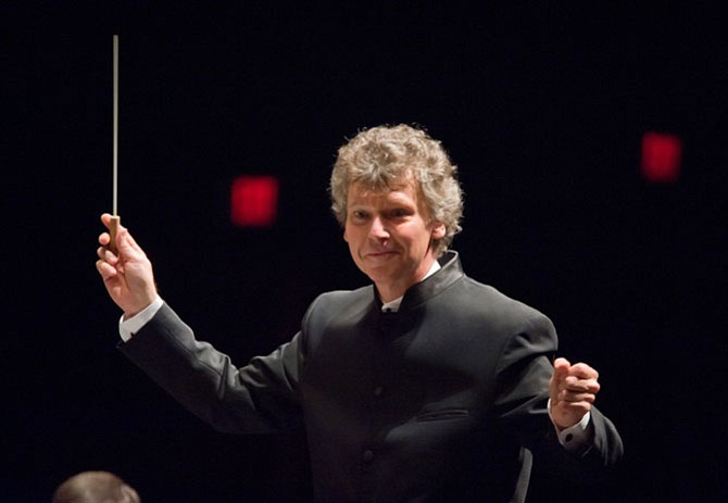 Maestro Christopher Zimmerman conducting the Fairfax Symphony Orchestra.