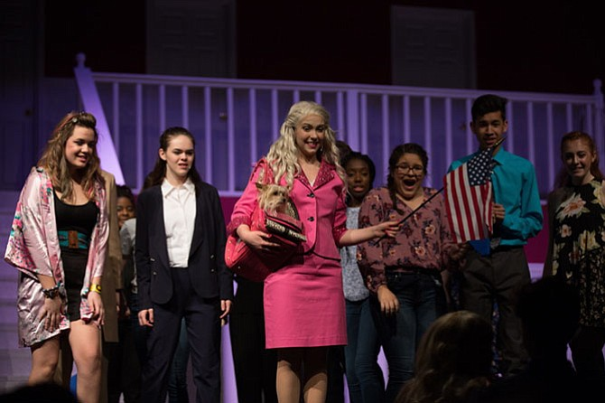 From left: Lulu Romero, Quincy Dillman, Gabriella Mancusi,  Mincy Barbosa, Quinton Flores and Cassidy Donaghy in South County High School's production of 'Legally Blonde.'