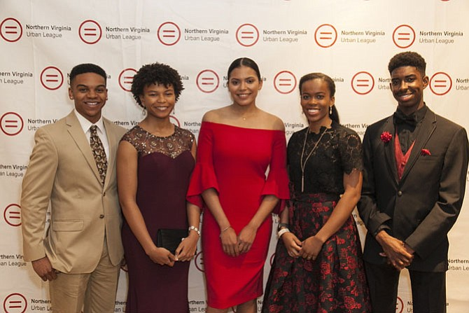 From left: Scholarship winners Tylan L. Reeves, Tuscarora High School, Leesburg; Adriana H. Jones, Heritage High School, Leesburg; Zoe Price, T.C. Williams High School; Naomi M. Nero, Oakton High School, Vienna; and Justin H. Moore, Forest Park High School, Woodbridge.