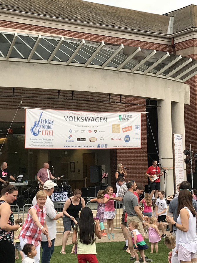 Friday Night Live is a family-friendly, outdoor concert series, back every Friday, now through Aug. 24, 2018, except June 1 due to Herndon Festival.