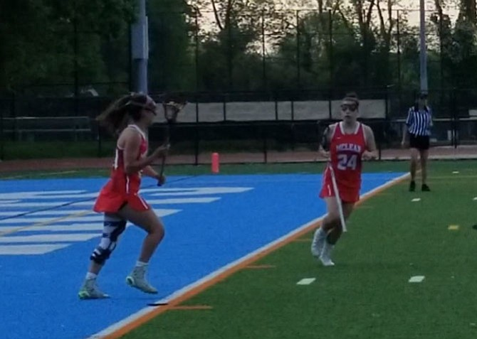 McLean senior Paulina DeAnda, left, scored five goals against Yorktown on May 11.