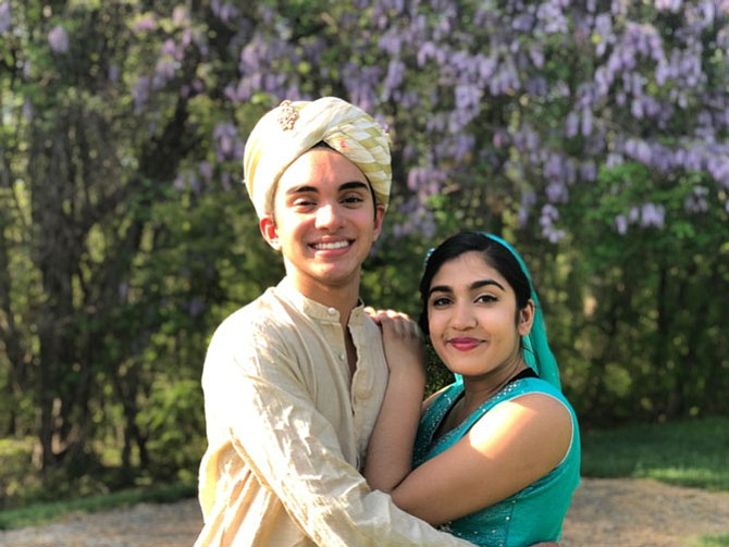 "Aladdin and Jasmine (Aditya Wineland and Sonali Doshi) in Marshall HS' Spring Choir Show, ""The Musical World of Disney,"" June 1 & 2, tickets available at www.marshallhighschoolchoir.org"