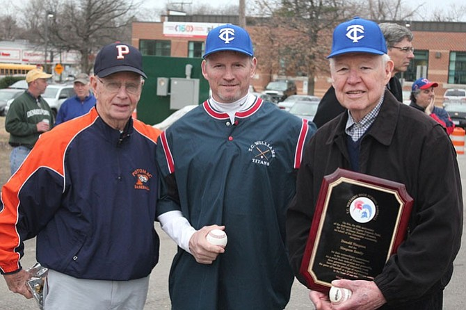 Donald Simpson Sr., right, shown with Dan Lehman and Donald Simpson Jr. at the 60th anniversary of Simpson Field baseball in 2013.