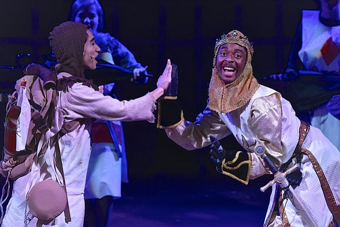 Nico Ochoa and Daniel Williams in Robinson Secondary School's production of Monty Python's Spamalot.