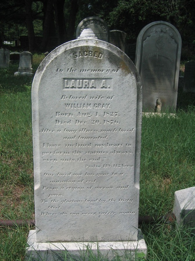This picture was taken at the Methodist Protestant Cemetery on Wilkes Street. The headstone is of Laura A. Gray – 1827-1876.