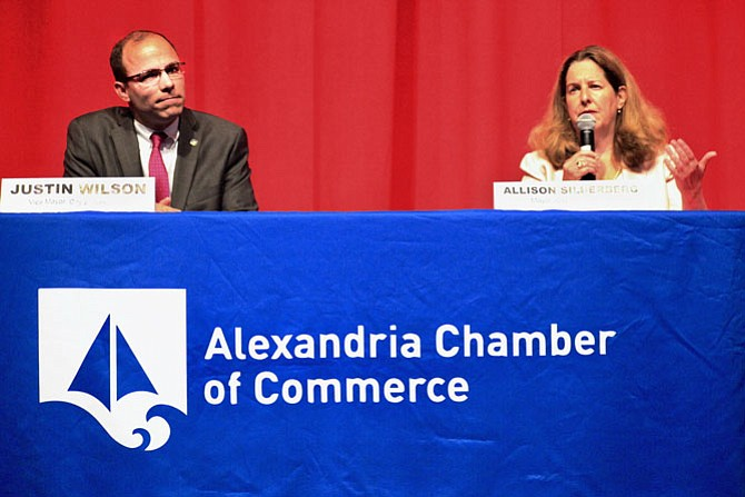 Alexandria Mayoral opponents Vice Mayor Justin Wilson and Mayor Allison Silberberg at their second debate before the June 12 primary, at T.C. Williams High School on May 14.