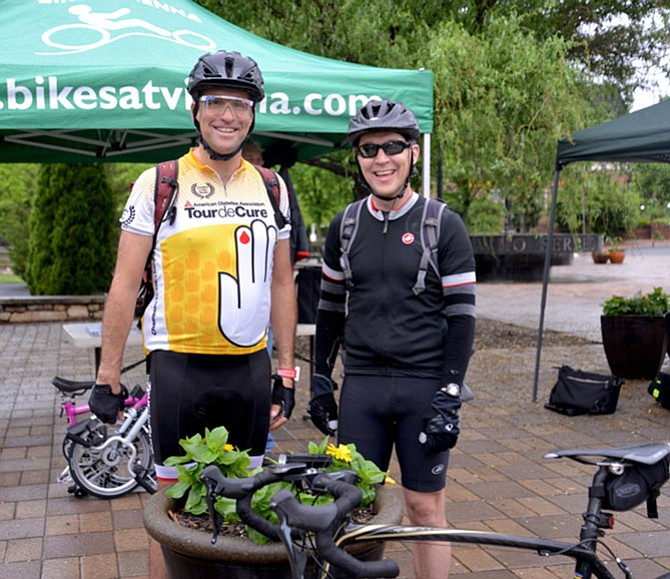 From left, Dan Combs of Vienna and Eric Lacey of Oakton, are often trail partners as they cycle to work across the Potomac, usually three times per week. Lacey stops pedalling in Georgetown, while Combs pushes on a bit farther into the District.