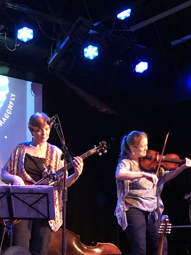 """Karen Huber (bass guitar) is joined by Marcy Cochran (fiddle) during the CD Release party for """"Bluebird Dragonfly"""" by """"Song Garden"""" held at Jammin' Java in Vienna.  Both are members of the Herndon/Reston Folk Club."""