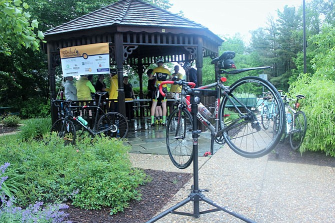 On Walker Lane in the Springfield-Kingstowne area, the diehard cyclists stopped by the morning of Friday, May 18, aka Bike To Work Day 2018. Despite the rains, there were a number of cyclists getting their tee shirts and some fresh air on the way to work.