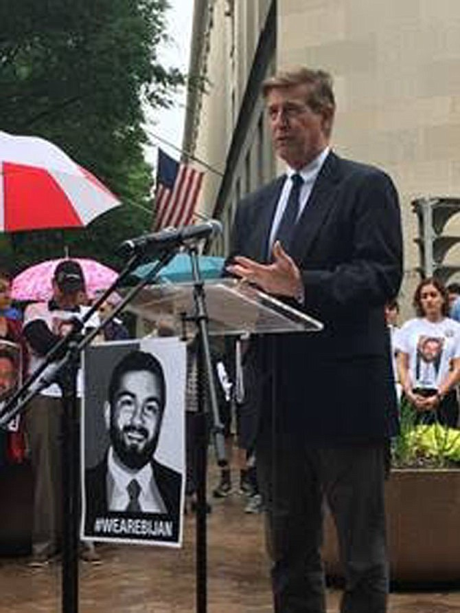 U.S. Rep. Don Beyer (D-8) addresses the crowd in front of the U.S. Department of Justice on Saturday, May 19, demanding transparency and accountability in the federal investigation into the November killing of Bijan Ghaisar at the hands of two U.S. Park Police officers.