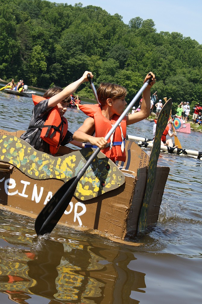 "The anaconda-themed ""Snakeinator"" made it back to the beach, and the sailors kept dry in Cardboard Boat Regatta 2017."