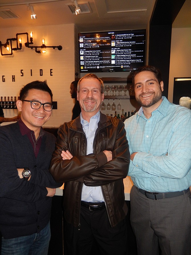 The three co-owners of craft-beer bar High Side are (from left) Jinson Chan, Tom Strat and Fito Garcia.
