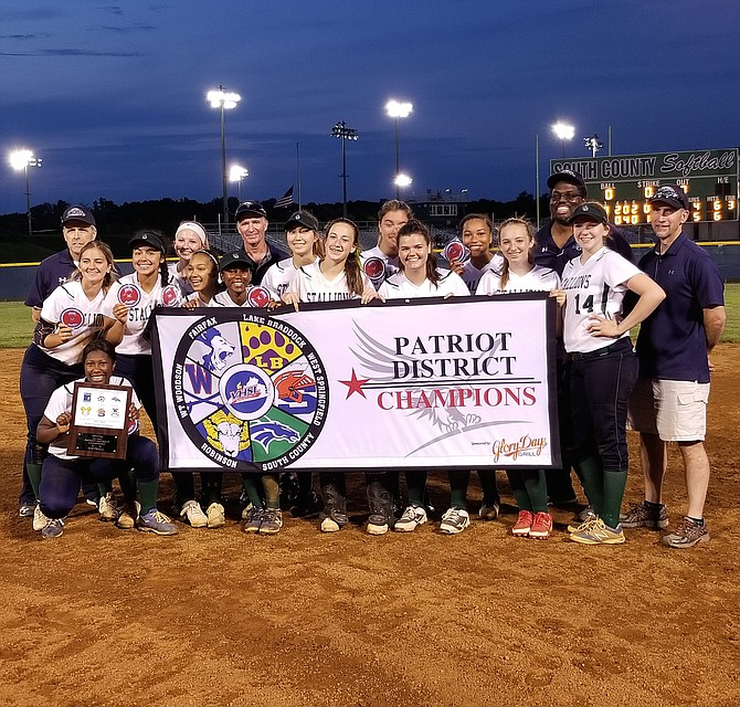 The South County softball team won the Patriot District championship with a 5-4 victory over Lake Braddock on Monday.