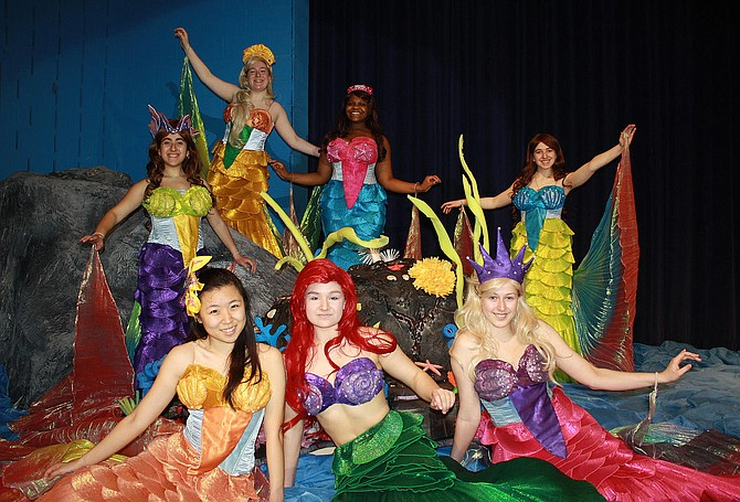 "From Fairfax High ""Disney's The Little Mermaid"" are (clockwise from top) Brigid Smullen, Tatiane Jones, Josie Morgan, Hannah Runner, Kamila Adamczyk (Ariel), Diana Park and Aya Nassif."