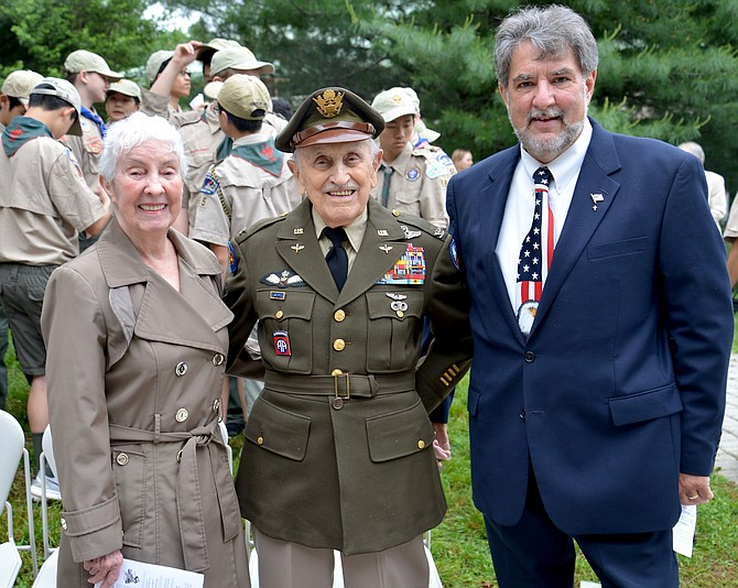 Col. Robert A. Shawn, Air Corps retired, served in World War II, the Korean War, and in Vietnam as a pilot. His wife Julia joined him in conversation with Calvin Follin of Great Falls, who was slated to read the names of passed Great Falls service members.