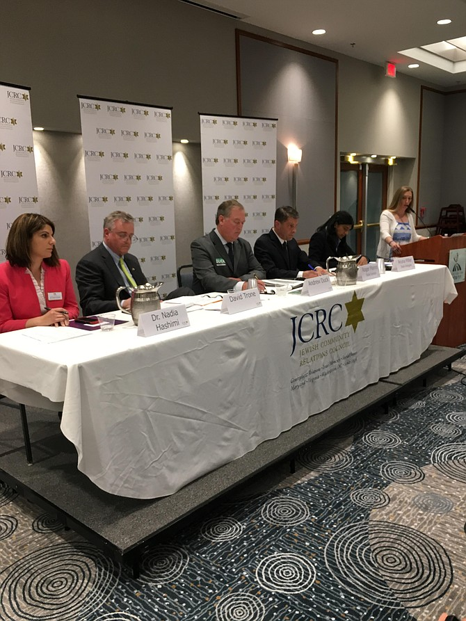 Five of the eight candidates for Maryland's 6th Congressional District were invited to a candidates' forum Tuesday, May 22 at Congregation Har Shalom in Potomac. From left are Nadia Hashimi, David Trone, Andrew Duck, Roger Manno and Aruna Miller. Far right is moderator Meredith Weisel.