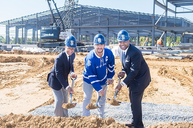 At the groundbreaking in fall 2017, from left: Kendrick Ashton, co-founder and co-CEO; Alex Ovechkin, The St. James founding member and captain of the Washington Capitals; Craig Dixon, co-founder and co-CEO, break ground on The St. James in northern Springfield.