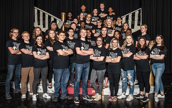 """The cast of Westfield High's """"The Phantom of the Opera."""" John Henry Stamper and Molly Van Trees are in the front row, center."""