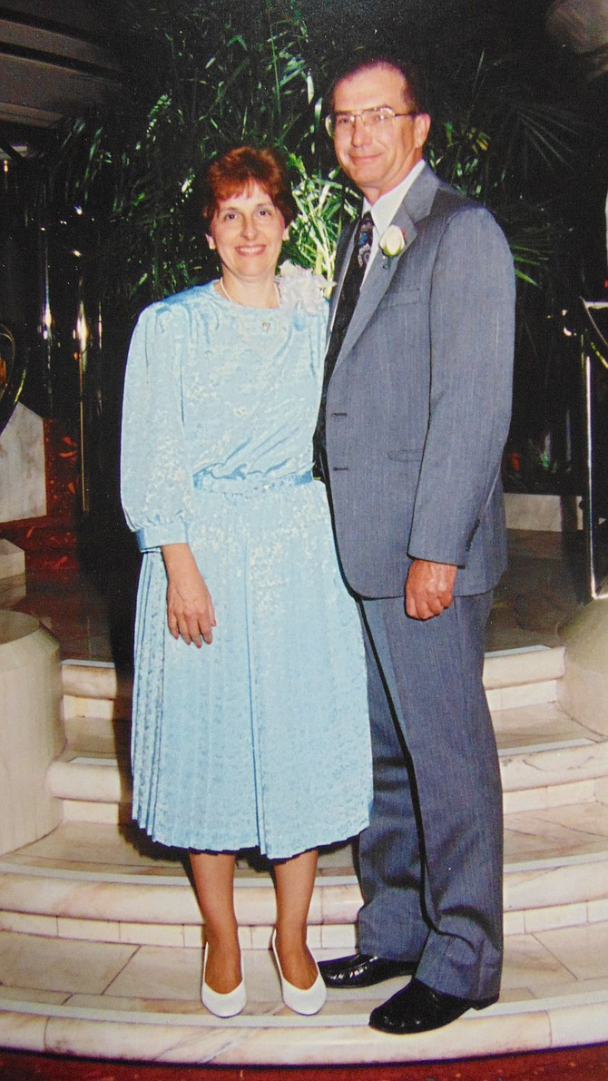 Larry and Fern Denholm at a 1995 floral convention.