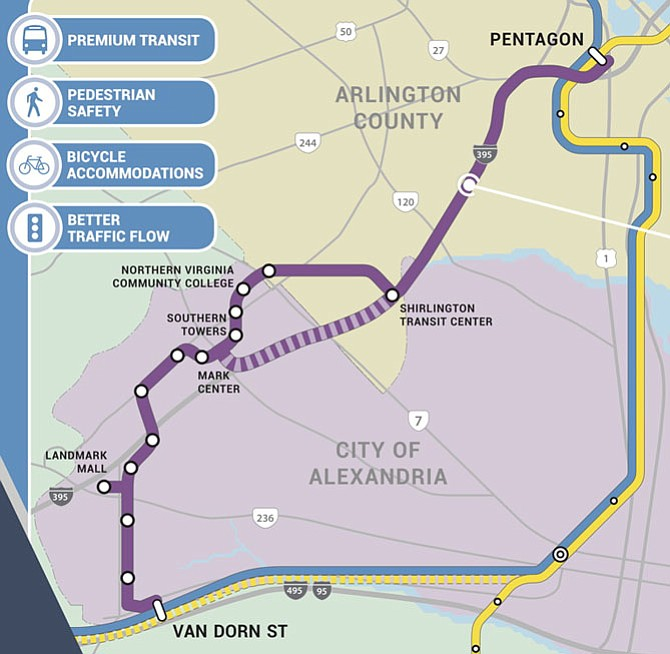 Due to perceived lack of project readiness, NVTA staff recommended last week to cut back Alexandria's requested funding for dedicated bus rapid transit (BRT) lanes in the West End. These lanes would connect the Landmark Mall with the Pentagon and eventually extend south to the Van Dorn Metrorail station.