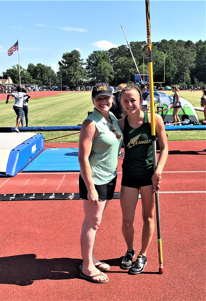 VA 6A State Champion, Women's Pole Vault, Hannah Richardson, right, with Coach Morgan Danner.