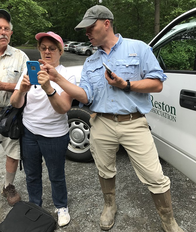 Will Peterson, Reston Association's Watershed Specialist, helps volunteer Sue Beffel of the Stream Team learn how to use the free app, iNaturalist, during the first BioBlitz held June 2, 2018.