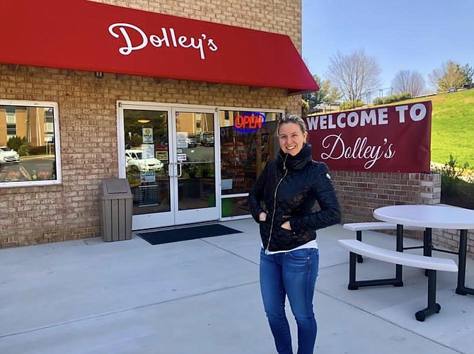 Dolley's operator, Kate Ritzenberg, in front of the store. Her grandfather built Dolley Madison Apartments more than 50 years ago, and late last year she converted one of them into Dolley's.