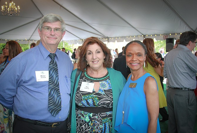 Campagna Center president and CEO Tammy Mann, right, is joined by Blaine and Amy Jackson at the Bright Futures benefit June 1 at United Way Worldwide headquarters. The event raised close to $300,000 for Campagna Center programs.
