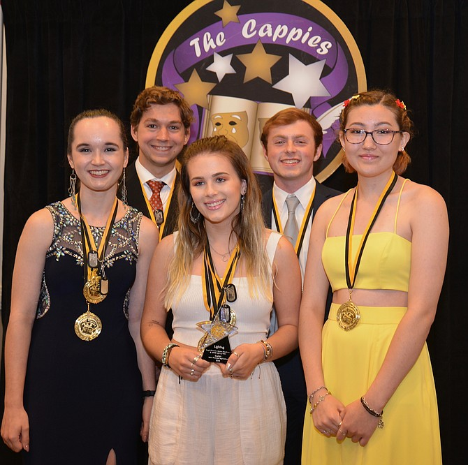 "The Lighting Award was another win for West Potomac's production of ""Dogfight."" From left McKenna Wirth, Sam Davidson, Jessica Steadman, Aubrey Blount, and Kayla Claussen accepted the Cappie."