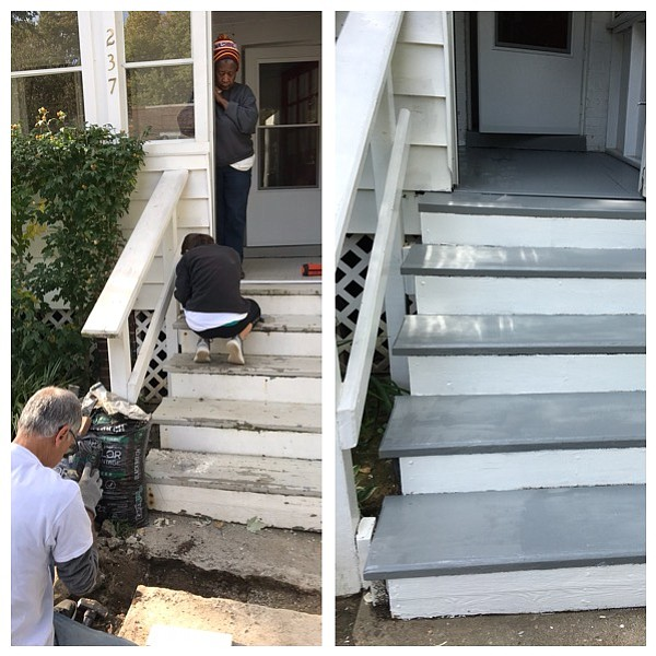 Before and after photos of the steps.