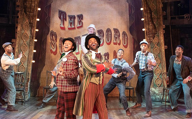"""The Scottsboro Boys"" at Signature Theatre: Singing in front row are (from left) Chaz Alexander Coffin and Stephen Scott Wormley. (Back row, from left) are Jonathan Adriel, Aramie Payton, Andre Hinds and Darrell Purcell Jr."