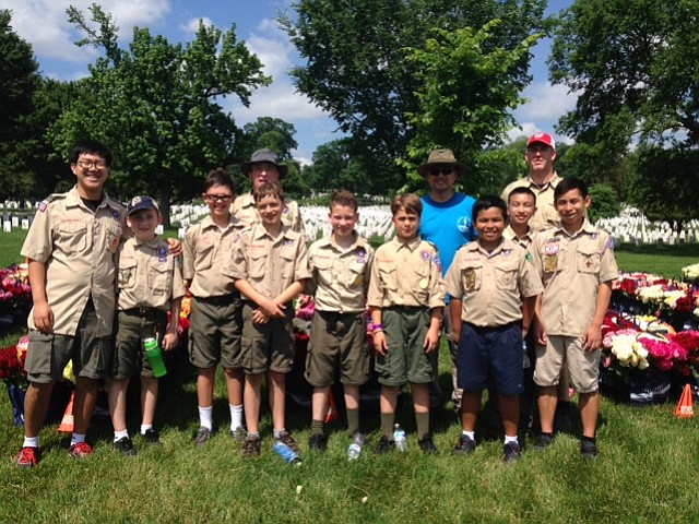 Boy Scout Troop 976 of Our Lady of Good Counsel in Vienna has participated in the Memorial Day Flowers Foundation event at Arlington National Cemetery.