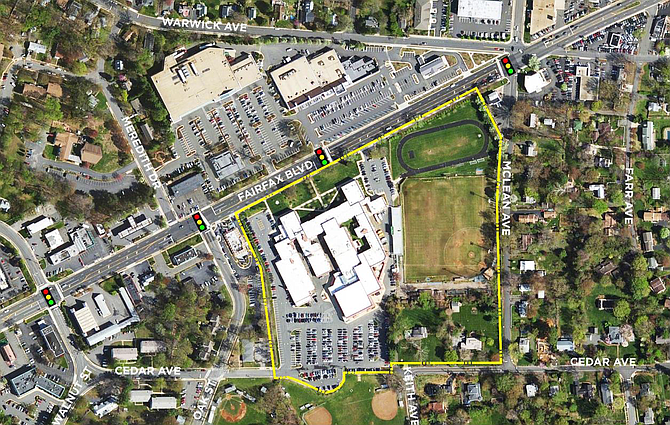 Aerial View of the Paul VI High School site in the City of Fairfax.