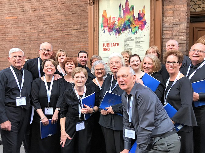 Before their debut at Carnegie Hall, members of the Fairfax United Methodist Church Chancel Choir pause a moment to enjoy their once-in-a-lifetime experience.  From left:  Bill Freese, Bob Bridge, Christy Sciscoe, Jonathan Giblin, Mindy Nash, Alice Hoeth, Susan Sowder, Bud Traynor and Ralph Jones stand in the back row.  In the front row are:   Diane Bridge, Patty Stephenson, Phyllis Fadely, Sarah Swart, Anna Lee Lyton, Eldon Reed, Maddi Mitchell, Pam Traynor and Sharron Jones.