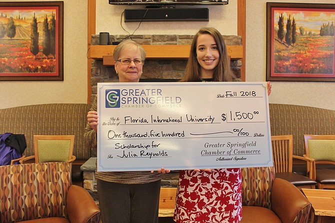 Greater Springfield Chamber of Commerce scholarship winner Julia Reynolds (right) with scholarship committee member Christine Heiby.
