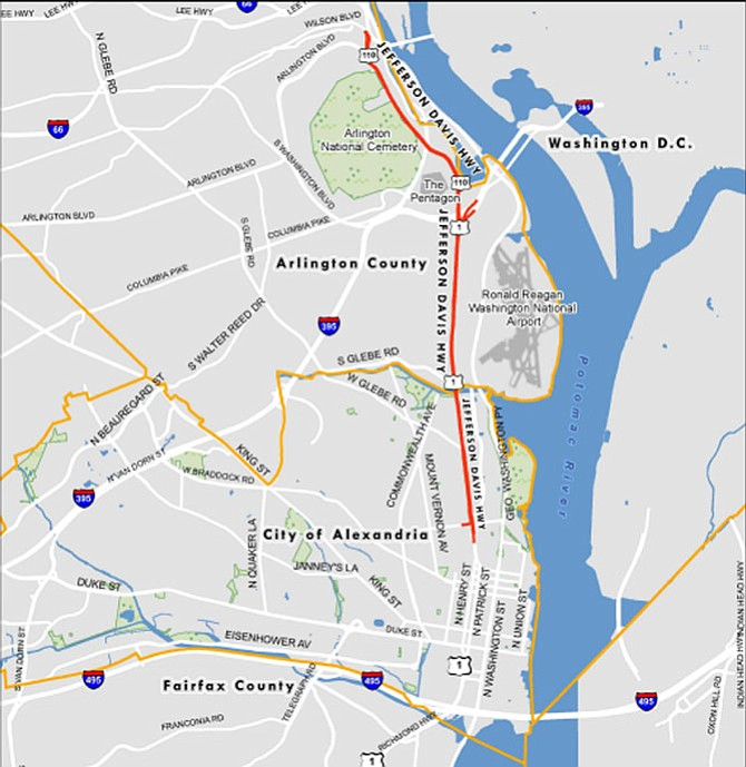 Map of where Route 1 is currently named Jefferson Davis Highway and where it is Richmond Highway.